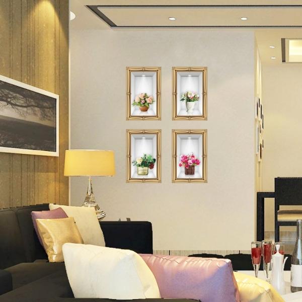 Stickere camera de zi - Aranajamente florale 3D - 122x44 cm 3