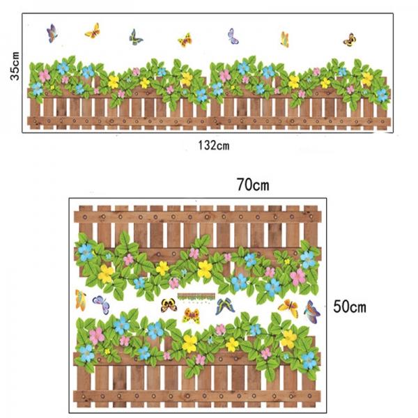 Stickere tip brau decorativ - Gradinita cu flori si fluturasi - 132x35 cm 5
