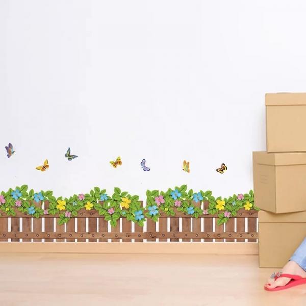 Stickere tip brau decorativ - Gradinita cu flori si fluturasi - 132x35 cm 0