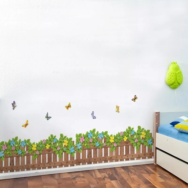 Stickere tip brau decorativ - Gradinita cu flori si fluturasi - 132x35 cm 3