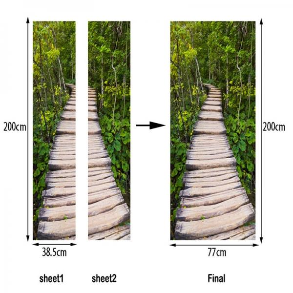 Autocolante usa - Scari de lemn in padure - 2 folii de 38,5x200 cm 6