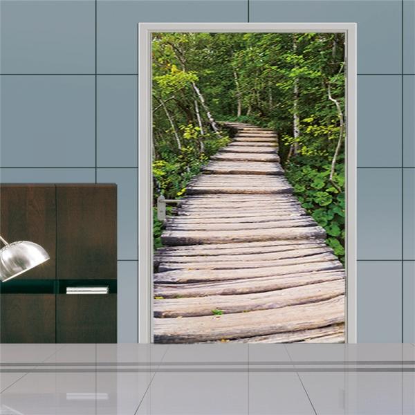 Autocolante usa - Scari de lemn in padure - 2 folii de 38,5x200 cm 1