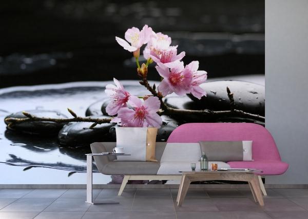 Fototapet Flori de Cires si Pietre Negre FTS 0185 2