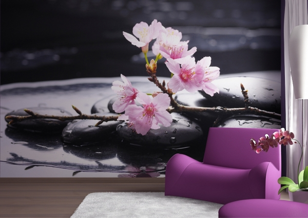 Fototapet Flori de Cires si Pietre Negre FTS 0185 1