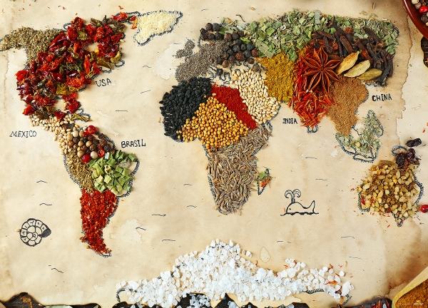 Fototapet Harta Lumii din Condimente 0
