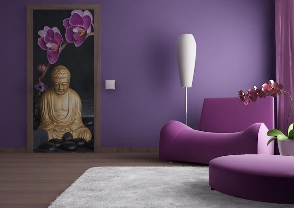 Fototapet Statueta Buddha si Flori de Orhidee 1
