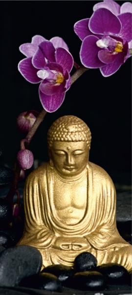 Fototapet Statueta Buddha si Flori de Orhidee 0