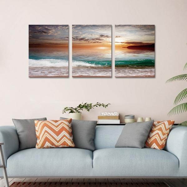 Set Tablouri Canvas - 3 piese - Mare la apus - 78x36 cm 0