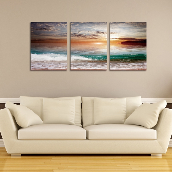 Set Tablouri Canvas - 3 piese - Mare la apus - 78x36 cm 1