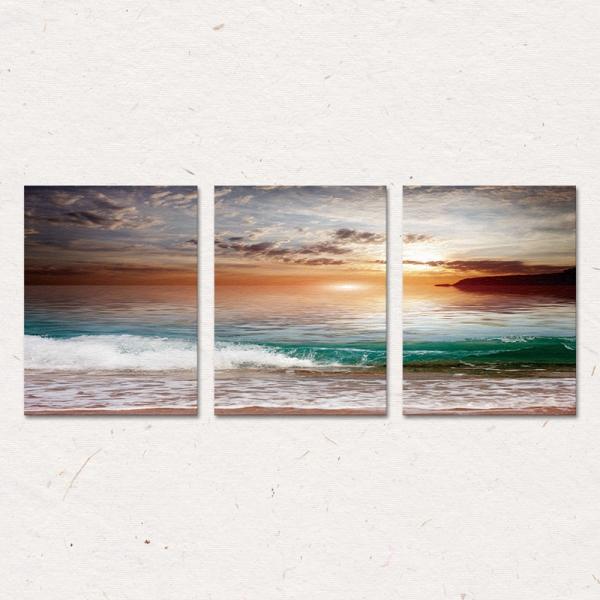 Set Tablouri Canvas - 3 piese - Mare la apus - 78x36 cm 2