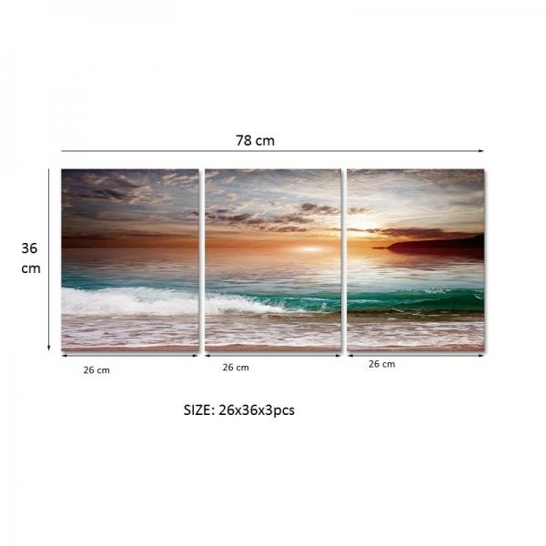 Set Tablouri Canvas - 3 piese - Mare la apus - 78x36 cm 3