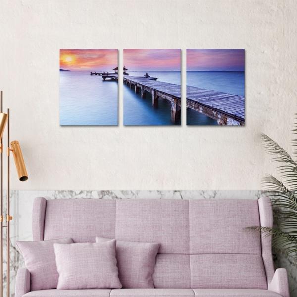 Set Tablouri Canvas - 3 piese - Ponton sub Asfintit Violet - 78x36 cm 1