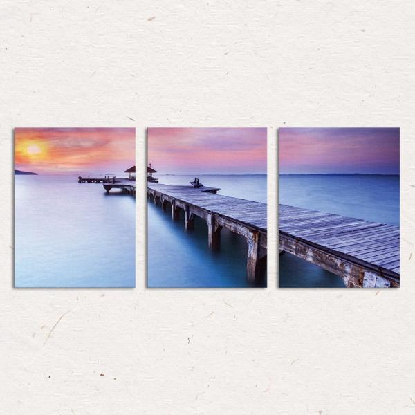 Set Tablouri Canvas - 3 piese - Ponton sub Asfintit Violet - 78x36 cm 3