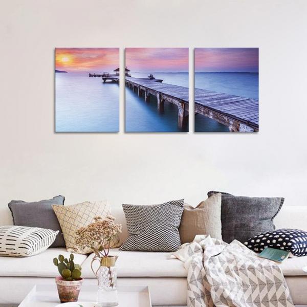 Set Tablouri Canvas - 3 piese - Ponton sub Asfintit Violet - 78x36 cm 2