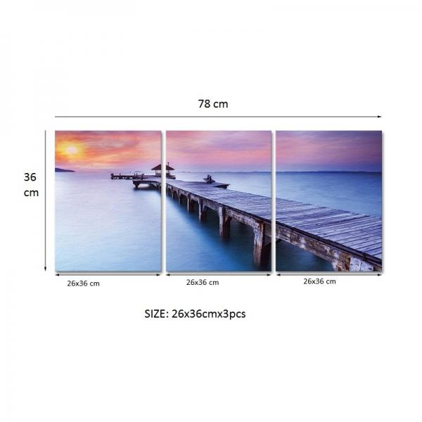 Set Tablouri Canvas - 3 piese - Ponton sub Asfintit Violet - 78x36 cm 4