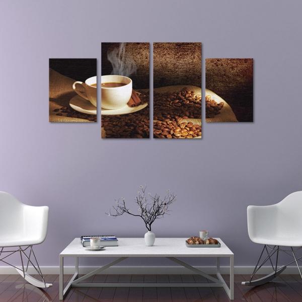 Set Tablouri Canvas - 4 piese - Ceasca si Boabe de Cafea - 104x56 cm 0