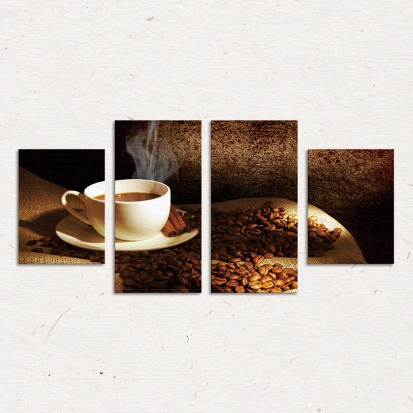 Set Tablouri Canvas - 4 piese - Ceasca si Boabe de Cafea - 104x56 cm 3