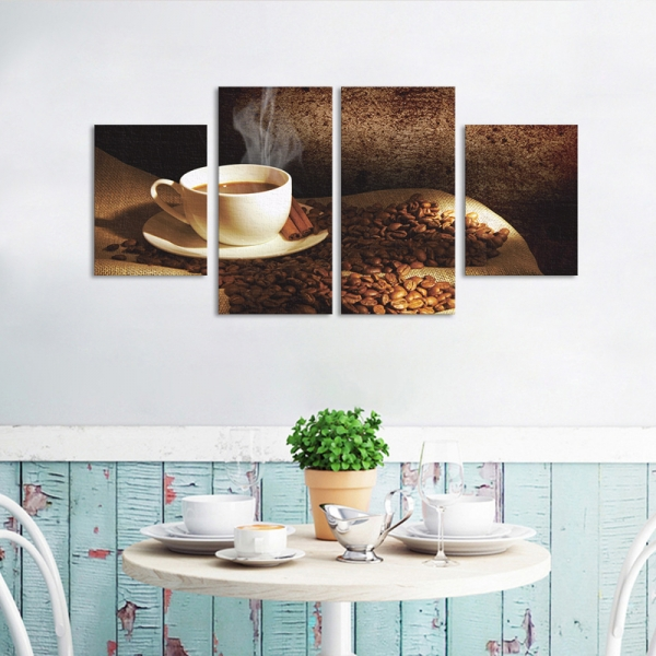 Set Tablouri Canvas - 4 piese - Ceasca si Boabe de Cafea - 104x56 cm 1