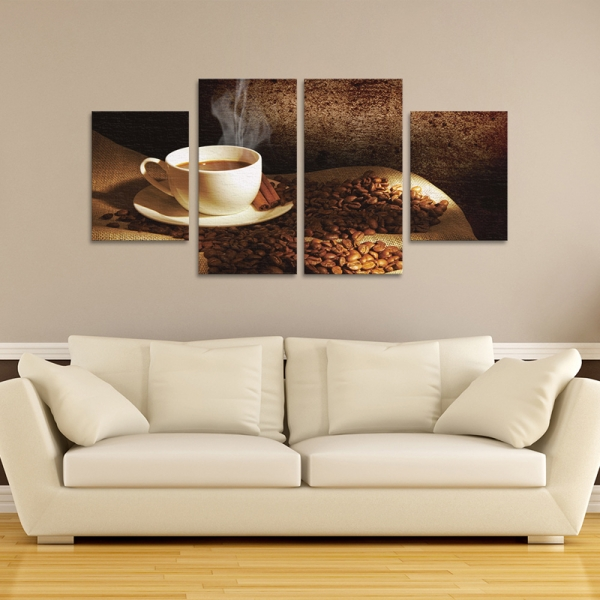 Set Tablouri Canvas - 4 piese - Ceasca si Boabe de Cafea - 104x56 cm 2