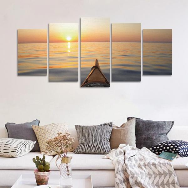 Set Tablouri Canvas - 5 piese - Apus - 113x56 cm 3