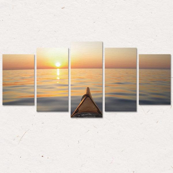 Set Tablouri Canvas - 5 piese - Apus - 113x56 cm 2