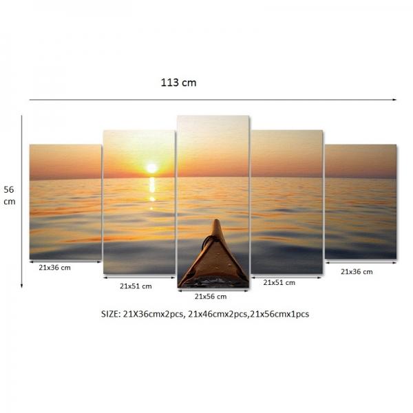Set Tablouri Canvas - 5 piese - Apus - 113x56 cm 4