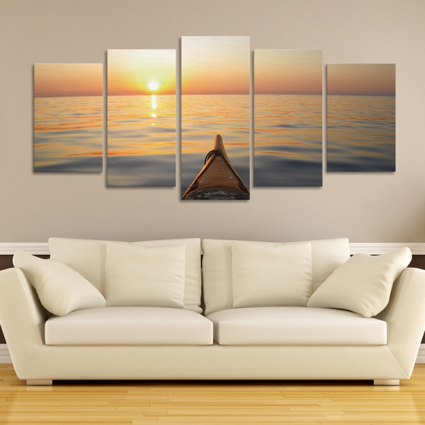 Set Tablouri Canvas - 5 piese - Apus - 113x56 cm 0