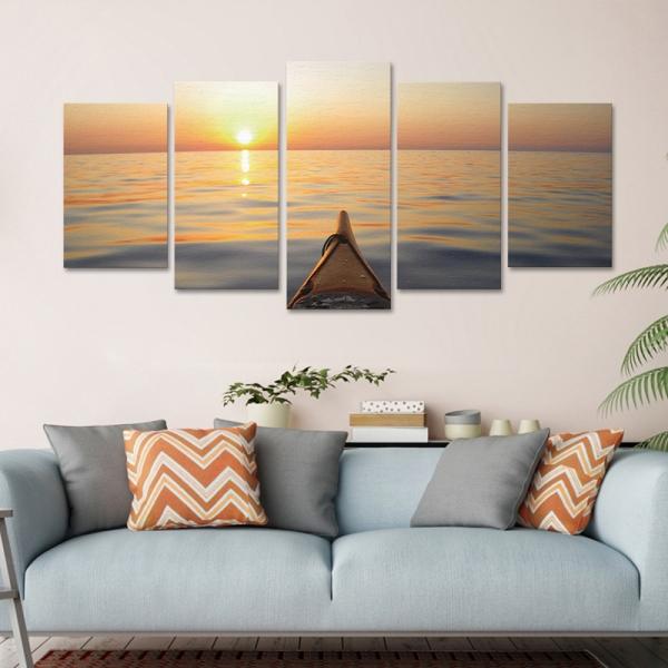 Set Tablouri Canvas - 5 piese - Apus - 113x56 cm 1