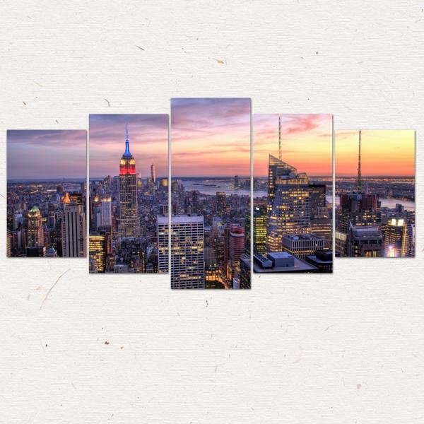 Set Tablouri Canvas - 5 piese - Oras Luminat - 113x56 cm 3
