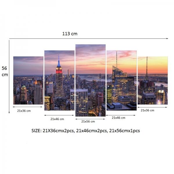 Set Tablouri Canvas - 5 piese - Oras Luminat - 113x56 cm 4