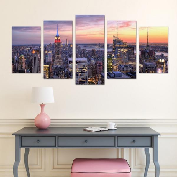 Set Tablouri Canvas - 5 piese - Oras Luminat - 113x56 cm 2