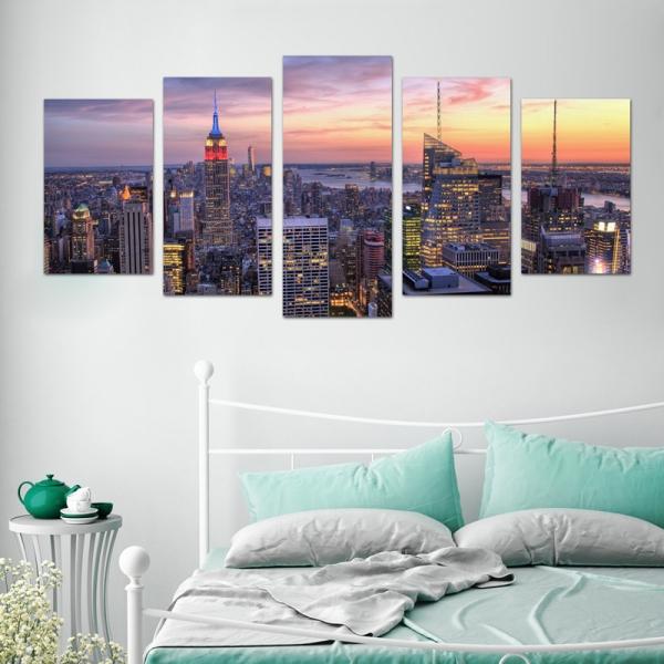 Set Tablouri Canvas - 5 piese - Oras Luminat - 113x56 cm 1