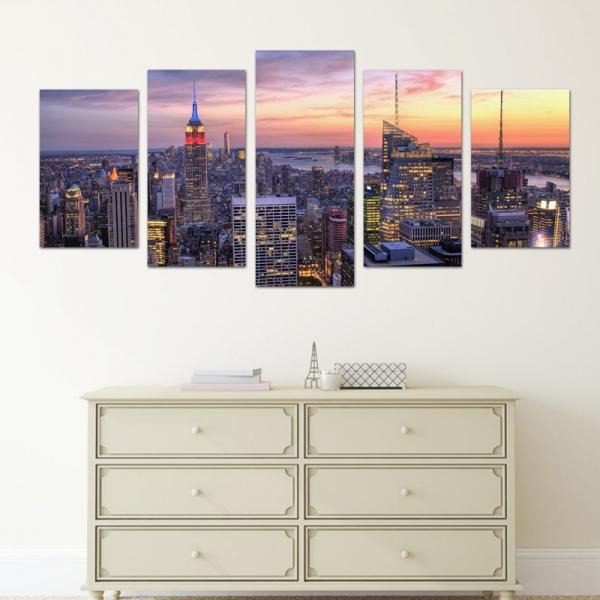 Set Tablouri Canvas - 5 piese - Oras Luminat - 113x56 cm 0