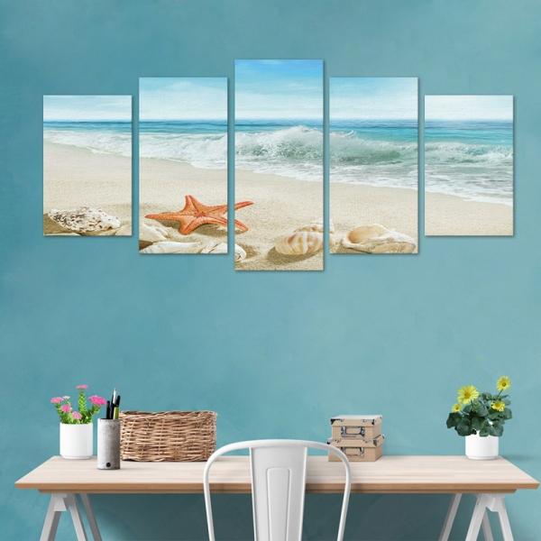 Set Tablouri Canvas - 5 piese - Plaja - 113x56 cm 1