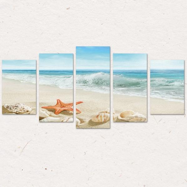 Set Tablouri Canvas - 5 piese - Plaja - 113x56 cm 3