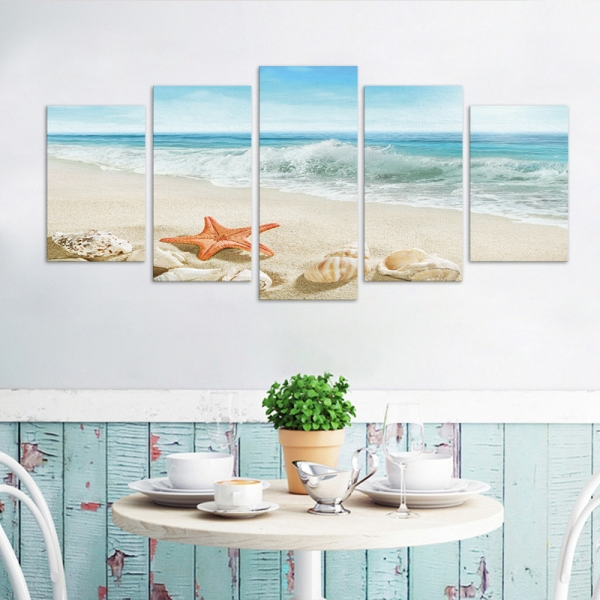 Set Tablouri Canvas - 5 piese - Plaja - 113x56 cm 2