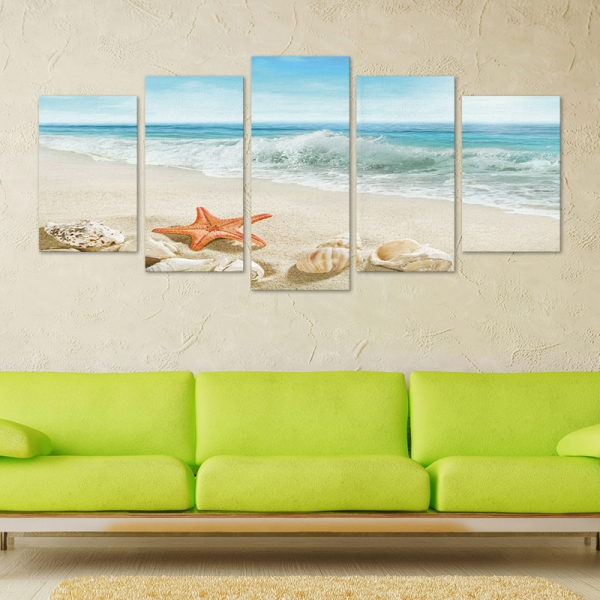 Set Tablouri Canvas - 5 piese - Plaja - 113x56 cm 0