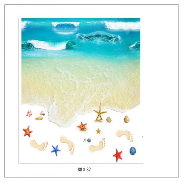 Sticker 3D pentru podea - Plaja cu valuri 5