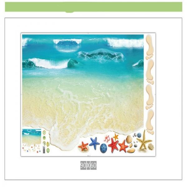 Sticker 3D pentru podea - Plaja cu valuri 4