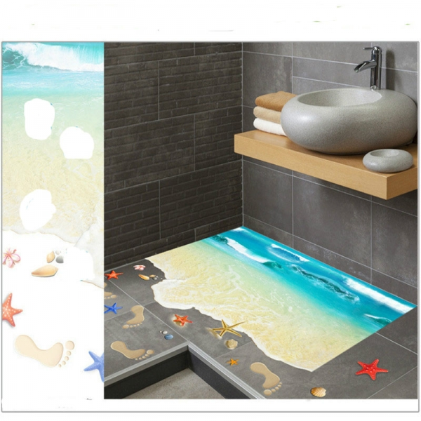 Sticker 3D pentru podea - Plaja cu valuri 3