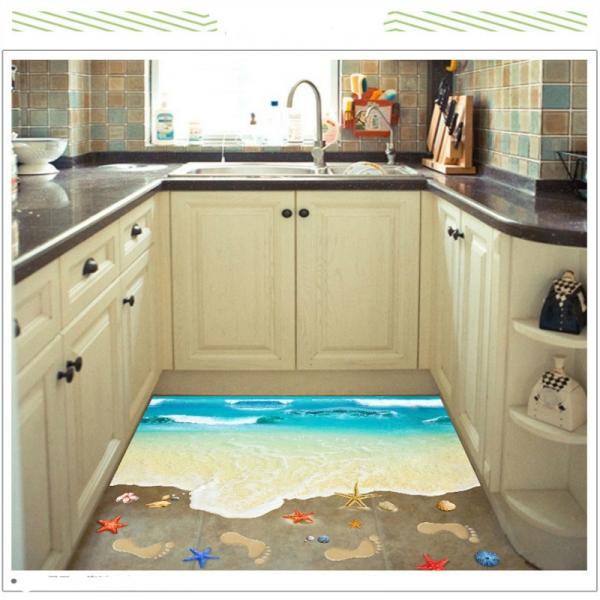 Sticker 3D pentru podea - Plaja cu valuri 2