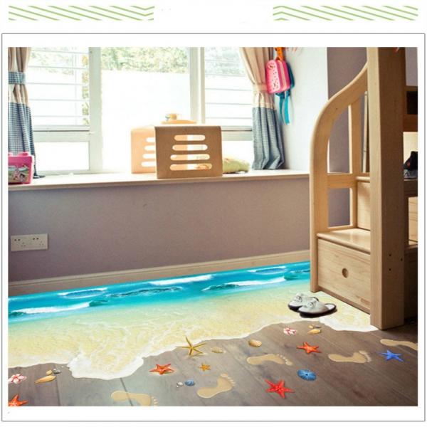 Sticker 3D pentru podea - Plaja cu valuri 1