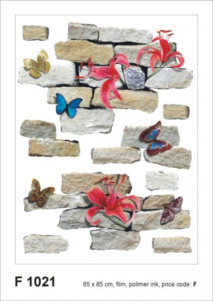 Sticker Zid de Piatra si Flori - Bricks&flowers - 65x85cm - F1021 0