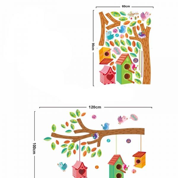 Sticker camera bebe - Casute pentru pasari pe creanga 3