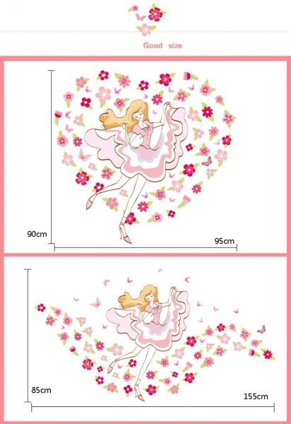 Sticker camera fete  - Balerina printre flori 2