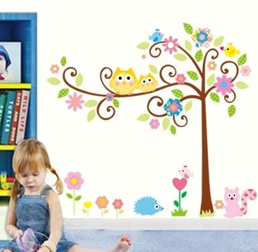 Sticker camere copii - Bufnite pe creanga 0