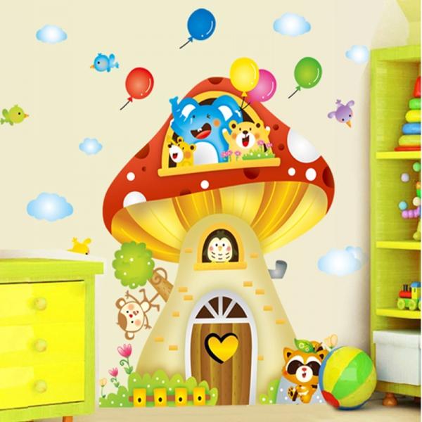 Sticker camere copii - Casuta din ciuperca 0