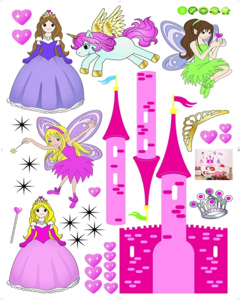 Sticker camere fetite- Castel cu printese 4