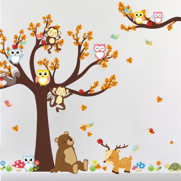 Sticker copii - Copac, frunze de toamna si animale 3