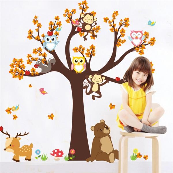 Sticker copii - Copac, frunze de toamna si animale 0